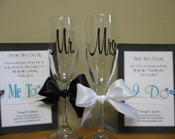 """Mr. and Mrs. Wedding Champagne Flutes with """"I Do"""" and """"Me Too"""" Shoe Decals for Bride and Groom"""