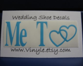 """Blue """"Me Too"""" Sticker Shoe Decal for Wedding Groom"""