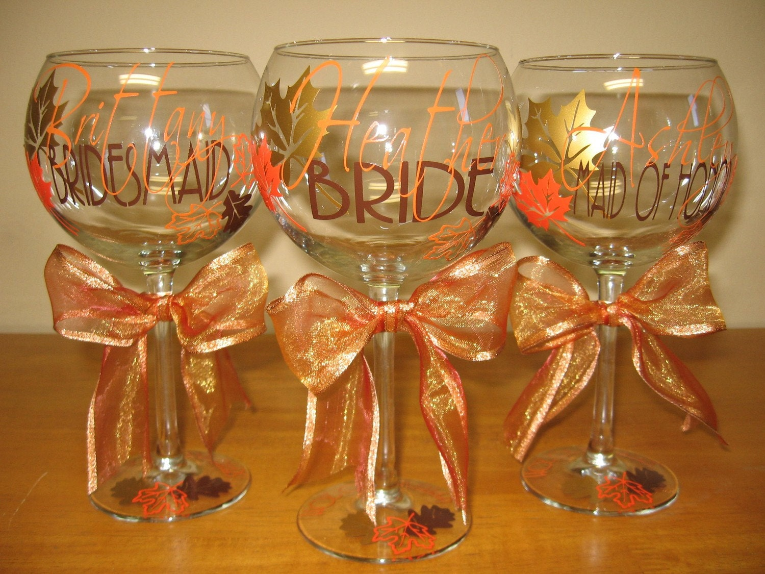 Fall in love personalized wedding party wine glass by for Wine glass decorations for weddings