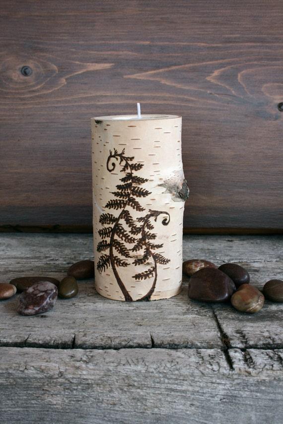 The Woodland Fern - Tealight Holder - Woodburning on Birch