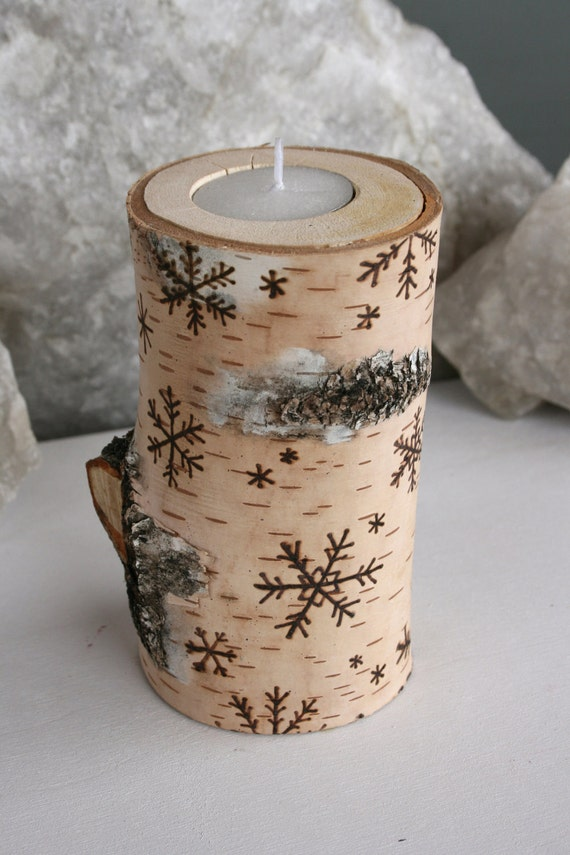 Snowflakes on Birch -  Wooden Tealight Holders - Woodburning