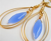 Earrings of Periwinkle Blue Purple Czech Glass,  Marquise Briolettes, Matte Gold Teardrop Hoops, Boho Fashion Accessory