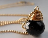AAA Wire Wrapped Black Spinel Chubby Gemstone Necklace . Minimalist