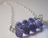 Swarovski Crystal Periwinkle Necklace on Sterling Silver, Lavender, Blue, Sparkling Fashion Accessory, Your Daily Jewels