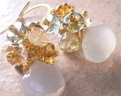 Pale Lemon Yellow Chalcedony Gemstone Earrings, Bundles of Quartz Rondelles, Gold Vermeil, Elegant Fashion Accessory, Autumn Colors