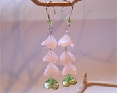 Pink and Green Glass Flower Dangle Earrings,  Womens  Natural Fashion Accessory
