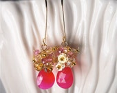 Pink Gold Chalcedony Gemstone  Earrings.  Bright Fuchsia, Magenta