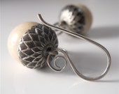 Acorn Earrings in Oxidized Silver and Natural Fossil Stone Beads, Also Avail. in Tigers Eye