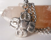 Handmade Silver Quatrefoil Four Leaf Clover, Flower Necklace . GOOD LUCk Charm,