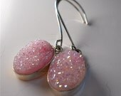 Druzy Gemstone Earrings in Pale Pink and Sterling Silver. Like Sparkling Sugar. Womens Winter  Fashion