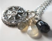 CUSTOM Wax Seal Silver Compass Gemstone Necklace . Choose Your Gemstones . Compass Rose