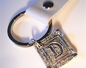 Mens Accessory, Wax Seal Silver Initial Leather Key Chain, Personalized Monogram, Mens Jewelry, Eco-friendly Gift, Groomsmen Gift
