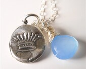 Wax Seal Crown Sky Blue Wire Wrapped Gemstone Necklace  .  Juice Couture Style