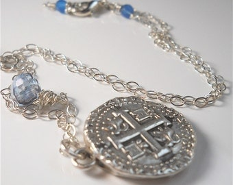 Recycled Silver Antique Spanish Replica Coin Necklace with Gemstones .  Nautical . Beach . Maritime . SUMMER Jewelry