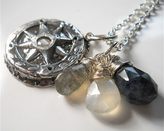 CUSTOM Wax Seal Silver Compass Gemstone Necklace . Choose Your Gemstones . Compass Rose Talisman