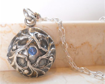 Artisan, Blue Spinel Silver Gemstone Necklace, Artisan Made, Two Sided Pendant, Reclaimed Metals, One of a Kind, Gift
