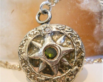 Abstract Silver Wax Seal Pendant . Compass Nautical  Necklace Eco-friendly, CHOICE of GEMSTONE