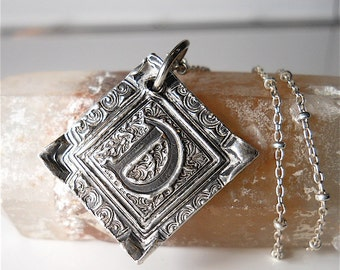 Handmade Wax Seal Jewelry Silver Initial Pendant for Men or Women, Wax Seal Necklace, Jewellery