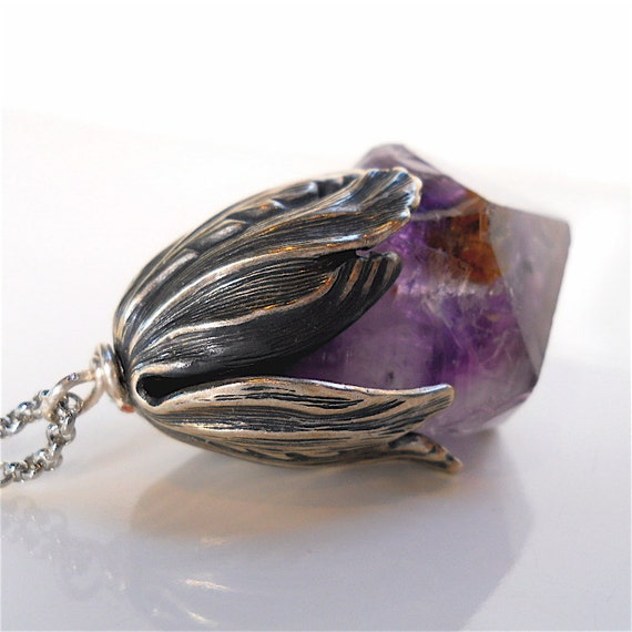 Necklace, Pendant of Chunky Amethyst Crystal Point with Antique Silver Accent and Chain