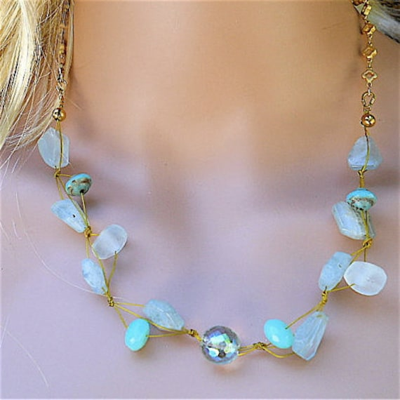 Necklace, Chain,  Beach Glass, Sea Glass  with Czech Glass and Lampwork Beads, Handknotted Summer Fahion