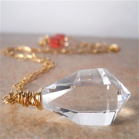 Large Geometric Clear Crystal Pendant Necklace, Padparadsha Swarovski Crystal, Gold Filled Wire Wrapped, Statement Piece, Fashion Accessory