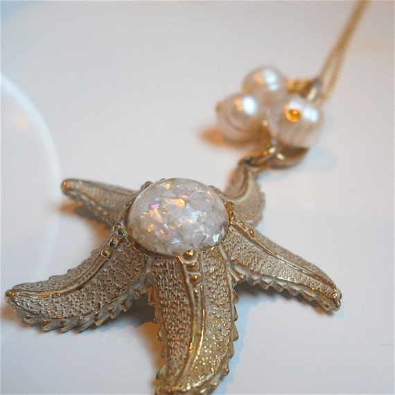 Vintage Pendant, Necklace, Repurposed Starfish - Upcycled, Recycled, Beach Wedding Fashion