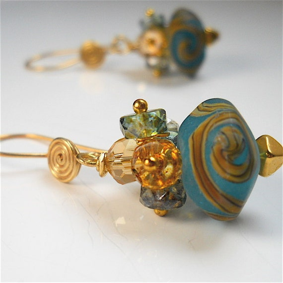 Frosted Teal Italian Lampwork Earrings, Handmade Beads Sparkling Quartz, Bali Gold Vermeil.  Fashion Accessory, Your Daily Jewels
