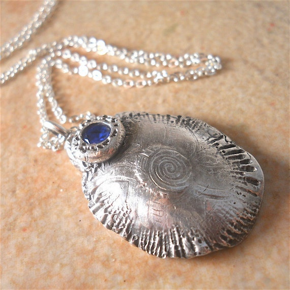 Recycled Fine Silver Large Abstract Pendant with Cobalt Blue Cubic Zirconium and Sterling Silver Chain. Winter Fashion