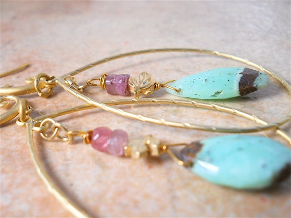 Earrings with Chrysoprase,  Green and Pink Quartz and MATTE GOLD Teardrop Hoops