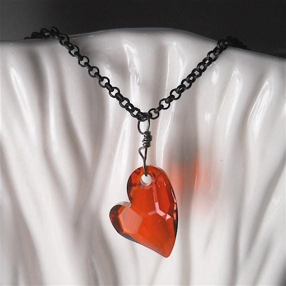 Red Swarovski Heart Pendant, Matte Black Chain, Women's Goth Necklace, Twilight, Fashion Accessory