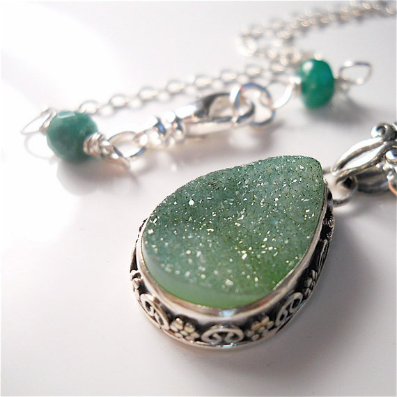 Sparkling Green Agate Druzy, Drusy Sterling, Fine Silver Bezel, May Birthstone Gift,  Genuine Emerald Accents