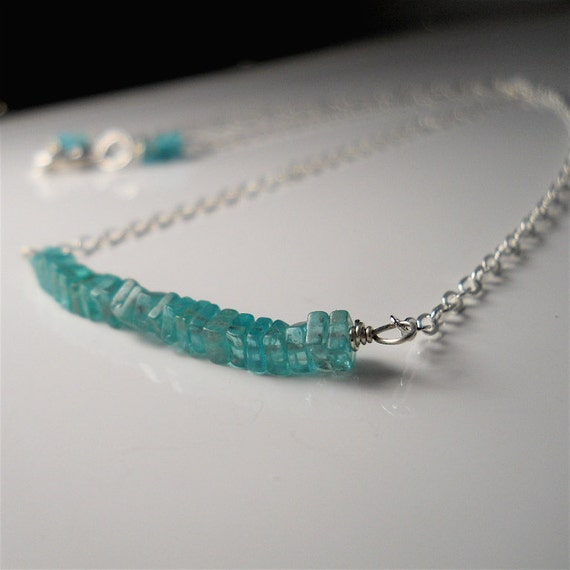 Genuine Aquamarine Gemstone Line Necklace in Sterling Silver, Women's Minimalist Fashion Accessory March Birthstone Gift