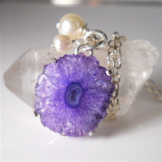 RESERVED for JR Petite Purple Geode Gemstone Druzy, Tiny Freshwater Pearls, Swarovski Accents, Your Daily Jewels  Fashion Accessory