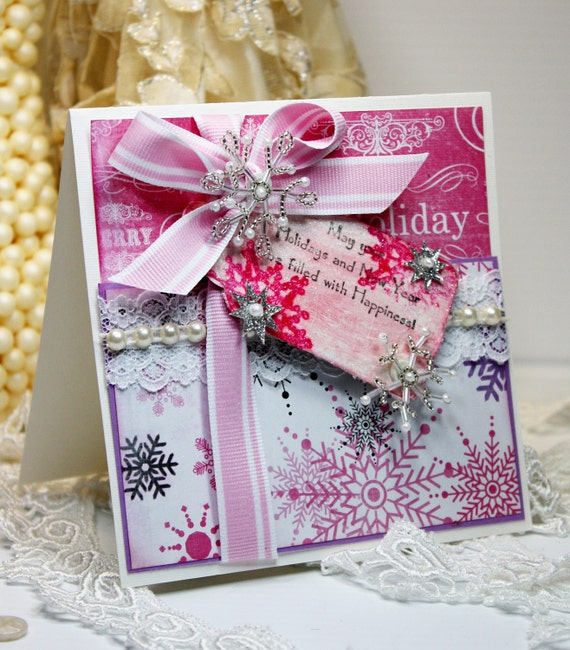 christmas card shabby chic handmade greeting distressed