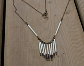 Dangling Chain Fringe Porcupine Quill Necklace