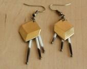 Geometric Cube Porcupine Quills Earrings