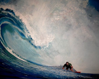 Original Acrylic Painting- Surfer on Wave