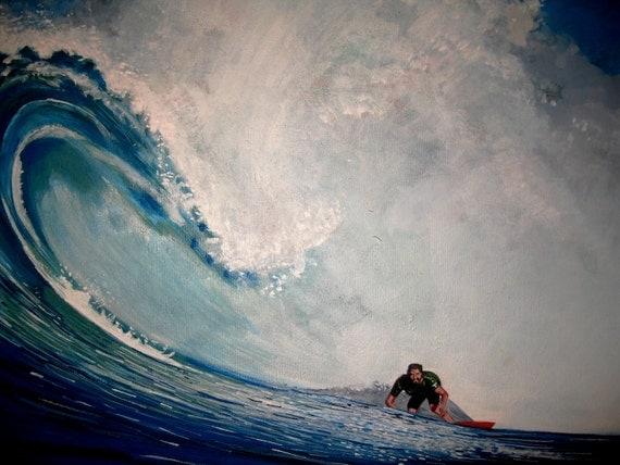 Original Acrylic Painting- Surfer on Wave