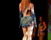 Peacock Feather Exotic Booty Shorts Dance Costume Ready to SHIP Festival Stage Burlesque Made 4U