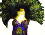 Exotic PEACOCK Feather Carnival Corset Las Vegas Burlesque Custom Made 4U