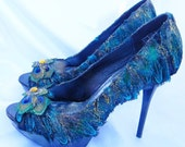 Peacock Feather Shoes Bridal Wedding Heels Peek-A-Boo Pumps Winter Ball -8.5