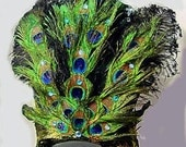 Peacock Feather & Crystal Showgirl Headdress Belly Dance Headpiece