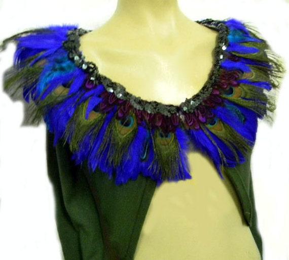 Peacock Feather Collar Dk Hunter Green Sweater Shrug