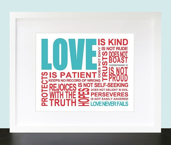 Love Is. 1 Corinthians 13 Wall Art. Inpsirational Wall