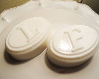 Hand made Beaded Oval Monogram Shea Butter Soap