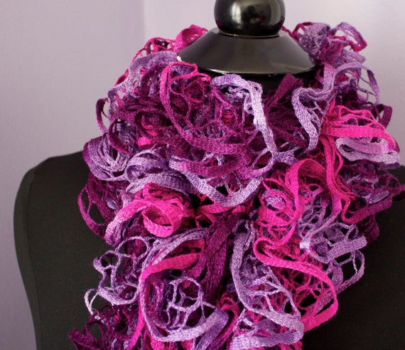 Scarf, hand knitted acrylic ruffle scarf in pinks and purples, 4 x 60