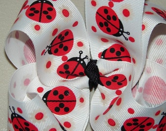 ONE DOLLAR BOW, LoVe BuG, Boutique Hair Bow, Ladybug,