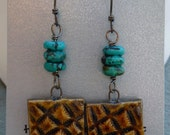 Porcelain Rootbeer and Turquoise Earrings