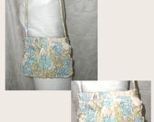 OOAK Pastel Floral Hand Ruched Evening Bag w/Hideaway Shoulder Strap