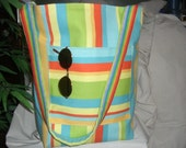 Multi colored striped beach bag